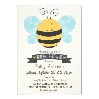 Ducha nupcial linda de la abeja amarilla y negra invitación 12,7 x 17,8 cm