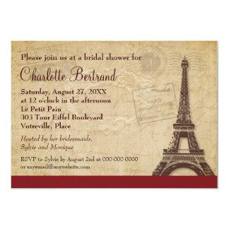 Ducha nupcial parisiense de la torre Eiffel Invitación 12,7 X 17,8 Cm