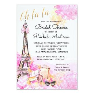 Ducha nupcial parisiense rosada de la acuarela invitación 12,7 x 17,8 cm
