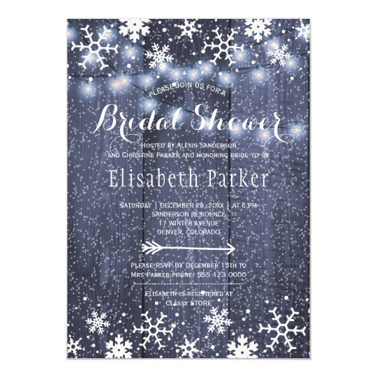 Ducha nupcial que nieva de las luces rústicas de invitación 12,7 x 17,8 cm