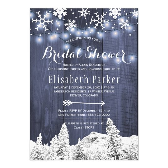 Ducha nupcial que nieva del país de las maravillas invitación 12,7 x 17,8 cm