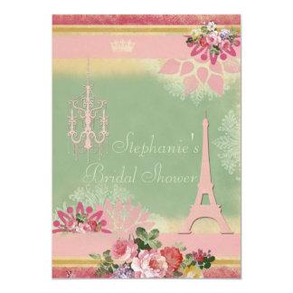 Ducha nupcial rosada de la torre Eiffel y de la Invitación 12,7 X 17,8 Cm