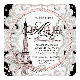 Ducha nupcial rosada de París Invitación 13,3 Cm X 13,3cm