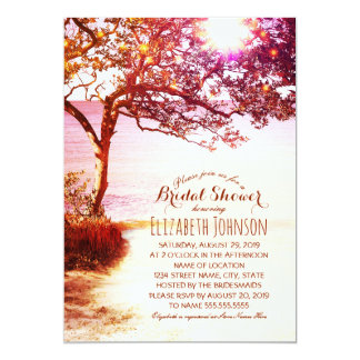 Ducha nupcial temática del árbol de la playa invitación 12,7 x 17,8 cm