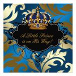 Ducha real del príncipe bebé del negro de azules m invitaciones personales