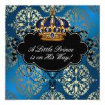 Ducha real del príncipe bebé del oro de los azules comunicados personales