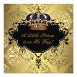 Ducha real del príncipe bebé del oro del negro de comunicado personalizado