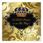 Ducha real del príncipe bebé del oro del negro de comunicados personalizados