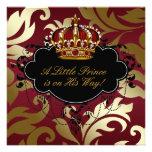 Ducha real del príncipe bebé del rojo y del oro anuncio personalizado