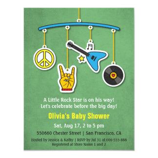 Ducha retra del bebé del rock-and-roll de la invitación 10,8 x 13,9 cm