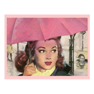Ducha retra del día lluvioso de la postal y un par
