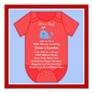Ducha roja del bebé de la ballena azul invitación 13,3 cm x 13,3cm