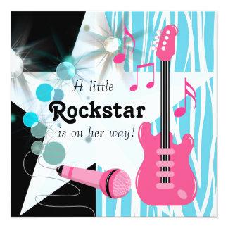 Ducha rosada azul de la niña de Rockstar de la Invitación 13,3 Cm X 13,3cm