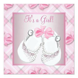 Ducha rosada blanca rosada de la niña de los invitación 13,3 cm x 13,3cm