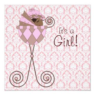 Ducha rosada de la niña de Brown del rosa del Invitación 13,3 Cm X 13,3cm