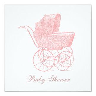 Ducha rosada de la niña del carro de bebé del invitación 13,3 cm x 13,3cm