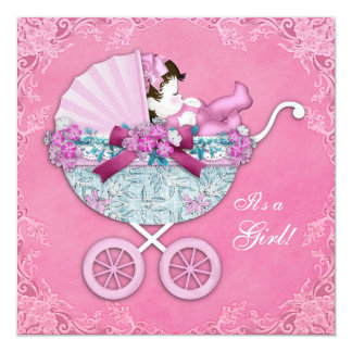 Ducha rosada de la niña del carro de bebé invitación 13,3 cm x 13,3cm