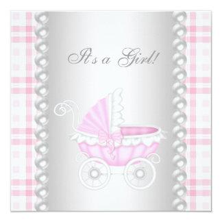 Ducha rosada de la niña del carro de la guinga de invitación 13,3 cm x 13,3cm