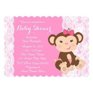 Ducha rosada de la niña del mono del cordón invitación 12,7 x 17,8 cm