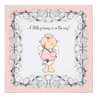 Ducha rosada de la princesa niña invitación 13,3 cm x 13,3cm
