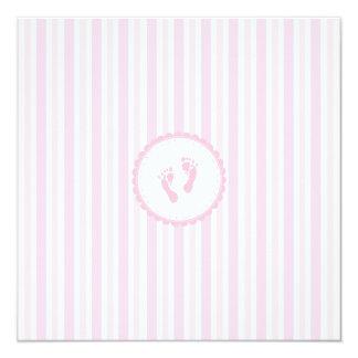 Ducha rosada del Raya-Bebé Invitación 13,3 Cm X 13,3cm