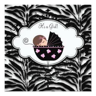 Ducha rosada negra de la niña de la cebra invitación 13,3 cm x 13,3cm