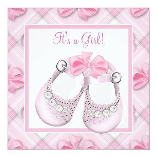 Ducha rosada rosada de la niña de los zapatos de invitación 13,3 cm x 13,3cm