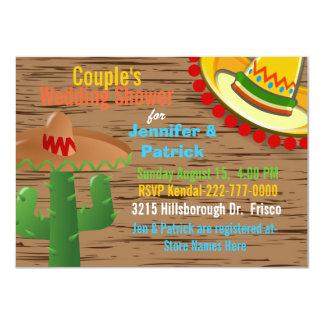 Ducha temática del boda del par mexicano colorido invitación 11,4 x 15,8 cm