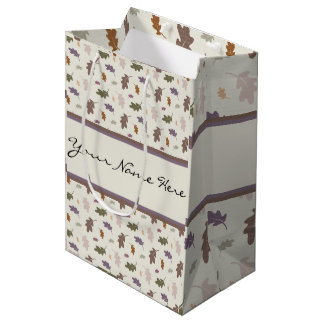 Duchas personalizadas de las hojas coloridas del bolsa de regalo mediana