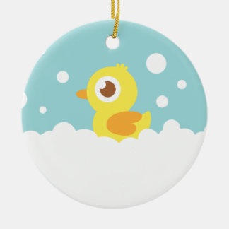 Ducky de goma lindo en baño de burbujas adorno redondo de cerámica