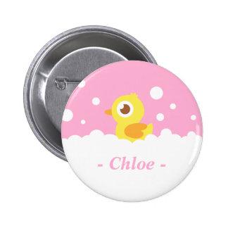 Ducky de goma lindo en baño de burbujas pin