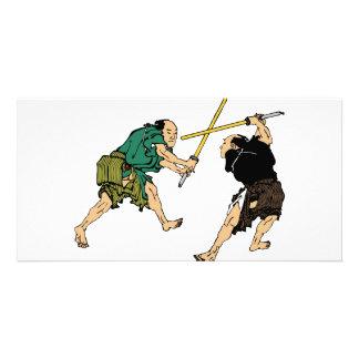 Duelers de Hokusai en color Tarjeta Fotográfica