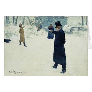 Duelo de Ilya Repin- entre Onegin y Lenski Tarjeta De Felicitación