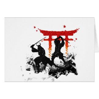 Duelo del samurai tarjeta de felicitación