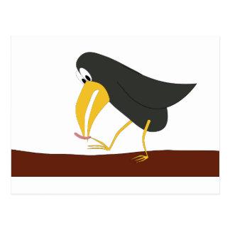 Duelo - pájaro y gusano postal
