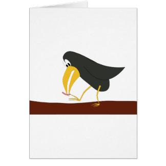 Duelo - pájaro y gusano tarjeta de felicitación