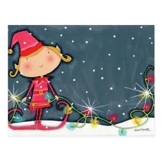 Duende brillante del navidad postal