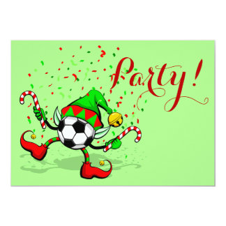Duende del navidad del fútbol o del fútbol del invitación 12,7 x 17,8 cm