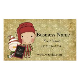 Duende y muñeco de nieve con una muestra feliz del plantillas de tarjetas de visita