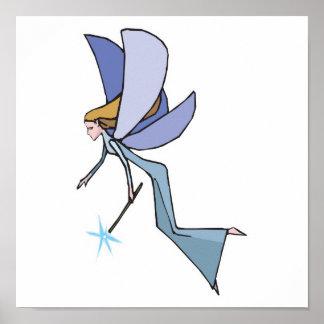 duendecillo azul de la hada del vuelo poster