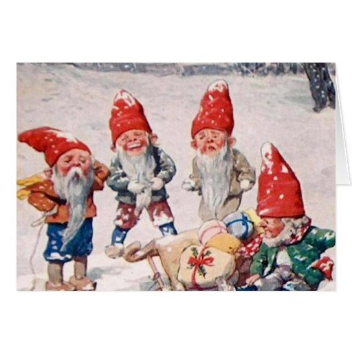 ¡Duendes de risa, y regalos, en la nieve! Felicitación