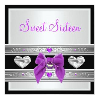 Dulce 16 arco púrpura negro blanco de dieciséis invitación 13,3 cm x 13,3cm