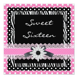Dulce 16 cebra rosada blanca negra de dieciséis invitación 13,3 cm x 13,3cm