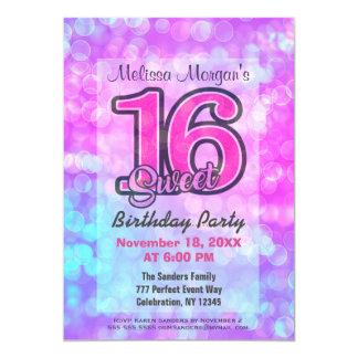 Dulce 16 de la fiesta de cumpleaños el | invitación 12,7 x 17,8 cm