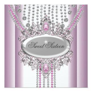 Dulce 16 diamantes del blanco del rosa de la comunicados personalizados