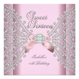Dulce 16 diamantes del blanco del rosa de la invitación 13,3 cm x 13,3cm