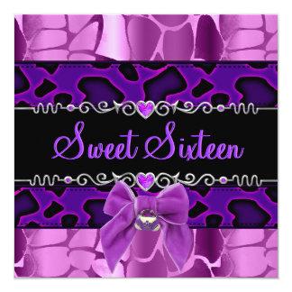 Dulce 16 dieciséis salvajes púrpuras del rosa de invitación 13,3 cm x 13,3cm