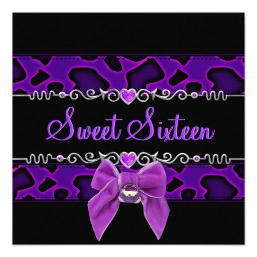 Dulce 16 dieciséis salvajes púrpuras rosados negro anuncios personalizados
