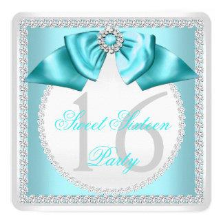 Dulce 16 fiesta blanco azul del diamante de invitación 13,3 cm x 13,3cm