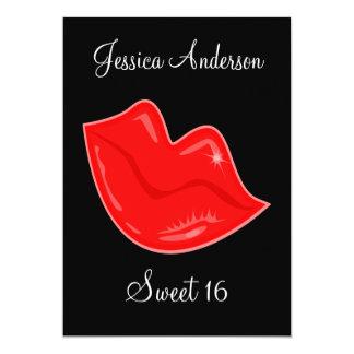Dulce 16 labios rojos brillantes del cumpleaños en invitación 12,7 x 17,8 cm